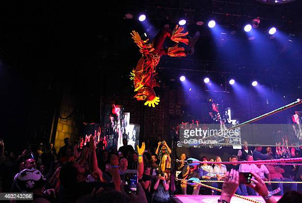 Luchadores the Crazy Chickens perform at Luca VaVOOM Valentine's Show 'Dangerous/Beautiful' at The Mayan on February 11 2015 in Los Angeles California