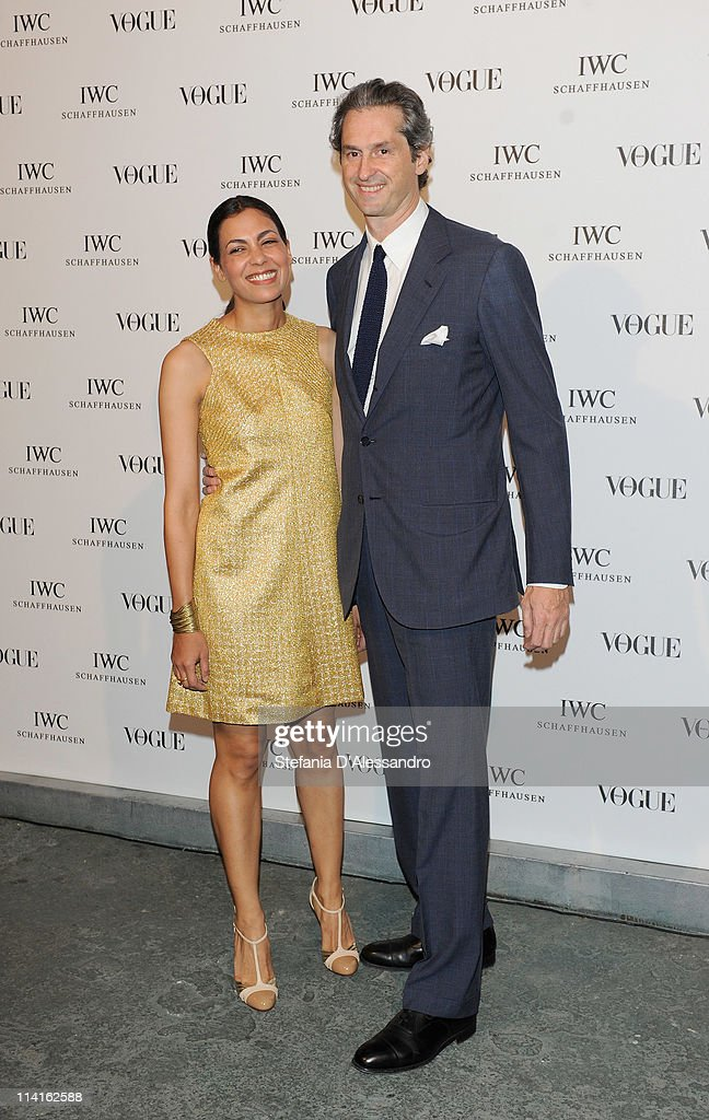 Luchino Visconti (R) and his wife attend Vogue and IWC present 'Peter Lindbergh's Portofino'at 10 Corso Como on May 12, 2011 in Milan, Italy.
