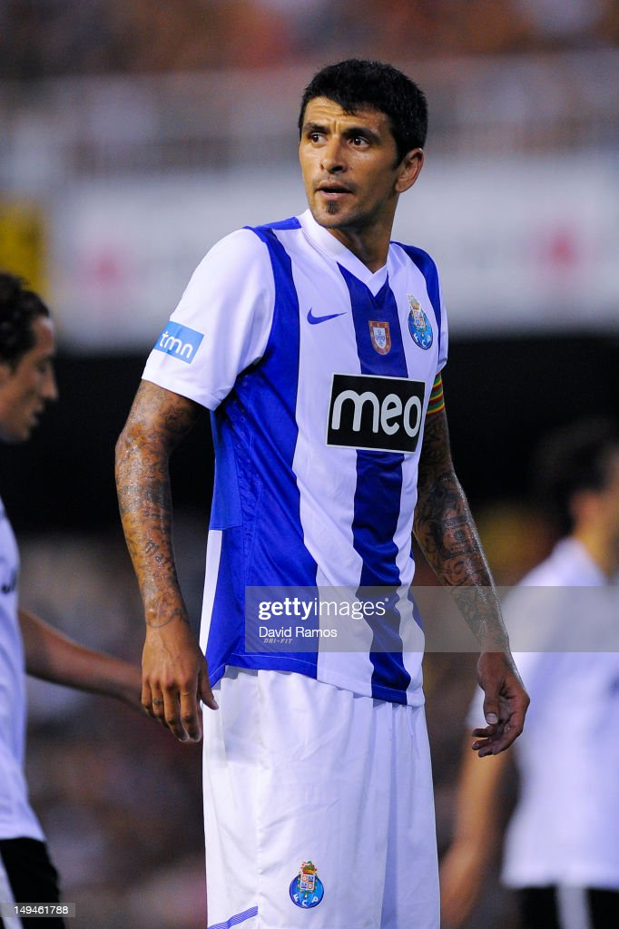 Lucho Gonzalez of FC Porto looks on during a PreSeason friendly match between Valencia CF and FC Porto at Estadio Mestalla on July 28 2012 in...