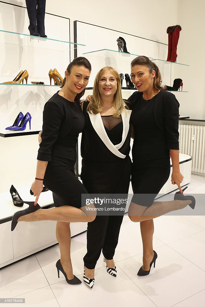 Lucia and Luisa Nardelli and Annarita Pilotti attend the Loriblu Cocktail Party as part of Milan Fashion Week Womenswear Autumn/Winter 2014 on February 20, 2014 in Milan, Italy.