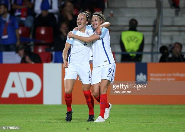 Lucia Bronze and Jodie Taylor of England celebrate the winning goal during the UEFA Women's Euro 2017 quarter final match between England and France...