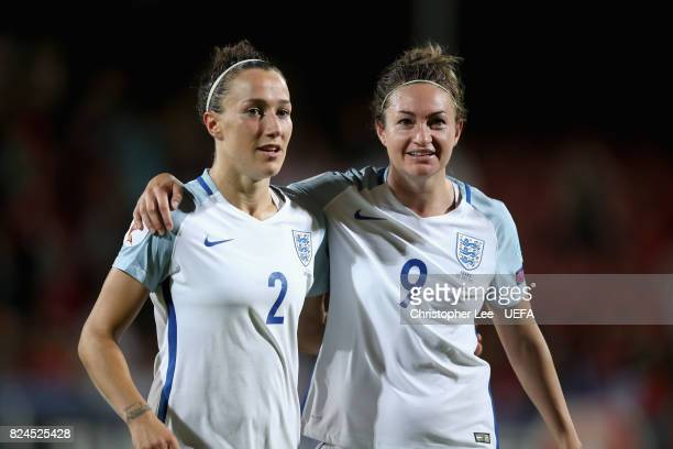 Lucia Bronze of England and Jodie Taylor of England celebrate victory after the UEFA Women's Euro 2017 Quarter Final match between France and England...