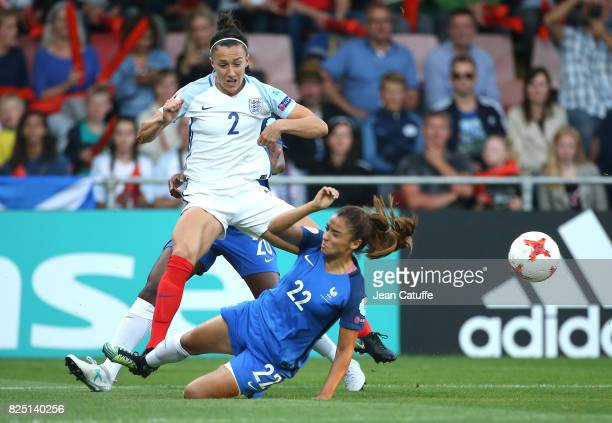 Lucia Bronze of England and Sakina Karchaoui of France during the UEFA Women's Euro 2017 quarter final match between England and France at Stadion De...