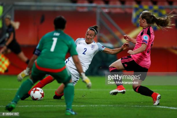 Lucia Bronze of England puts a cross in during the UEFA Women's Euro 2017 Group D match between England and Scotland at Stadion Galgenwaard on July...