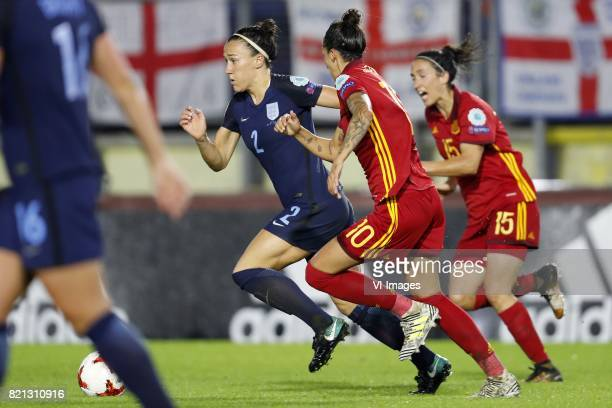Lucia Bronze of England women Jennifer Hermoso of Spain women Silvia Meseguer of Spain women during the UEFA WEURO 2017 Group D group stage match...
