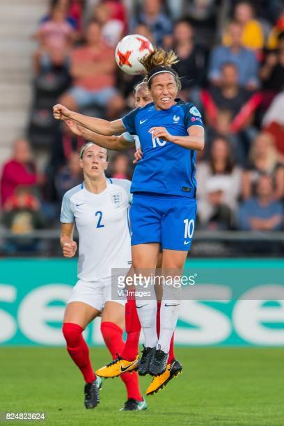 Lucia Bronze of England women Steph Houghton of England women Camille Abily of France women during the UEFA WEURO 2017 quarter finale match between...