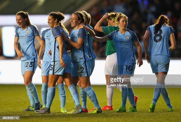 Lucia Bronze of Manchester City celebrates scoring the opening goal with Carli Lloyd during the UEFA Women's Champions League Quarter Final second...