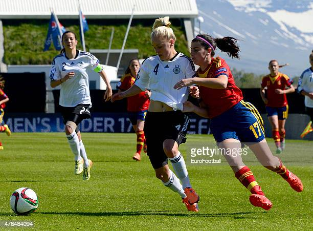 Lucia Garcia of Spain challenges Victoria Krug of Germany during the UEFA European Women's Under17 Championship match between U17 Germany and U17...