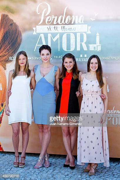 Lucia Guerrero Paloma Bloyd Andrea Duro and Lucia Delgado attend 'Perdona Si Te Llamo Amor' photocall at Cafeteria Rio on June 16 2014 in Madrid Spain