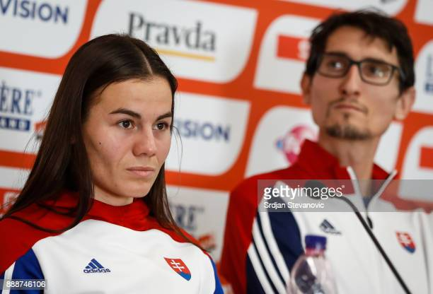 Lucia Janeckova of Slovakia and Jozef Repcik of Slovakia attend a press conference ahead of the Spar European Cross Country Championships on December...