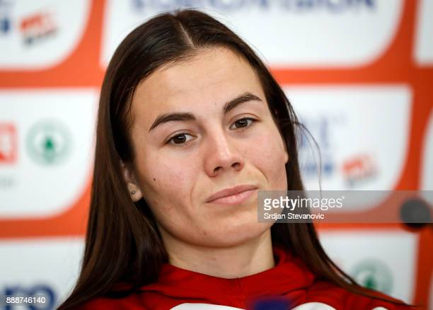 Lucia Janeckova of Slovakia attends a press conference ahead of the Spar European Cross Country Championships on December 9 2017 in Samorin Slovakia