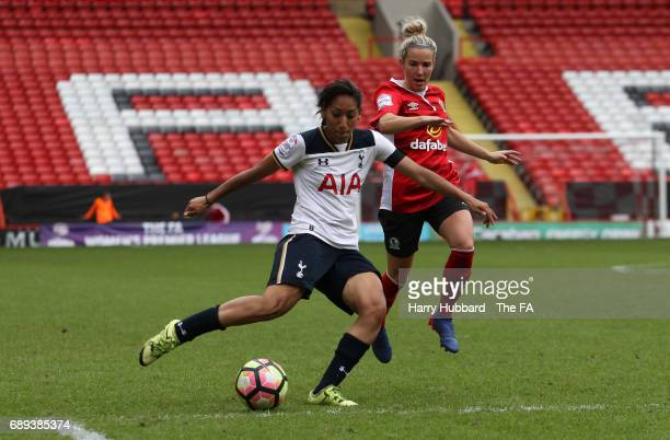 Lucia Leon of Tottenham and Emma Rankin of Blackburn in action during the FA Women's Premier League Playoff Final between Tottenham Hotspur Ladies...