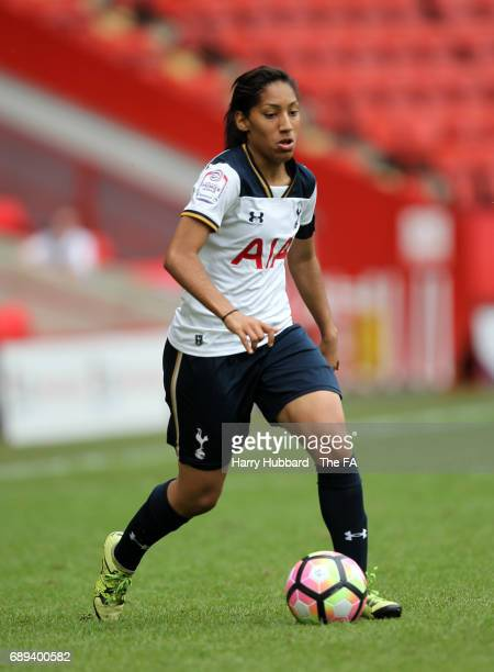 Lucia Leon of Tottenham in action during the FA Women's Premier League Playoff Final between Tottenham Hotspur Ladies and Blackburn Rovers Ladies at...