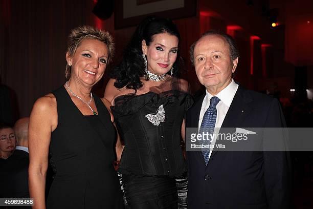 Lucia Magnani Lamia Khashoggi and Ettore Sansavini attend the Children for Peace Benifit Gala at Spazio Novecento on November 28 2014 in Rome Italy