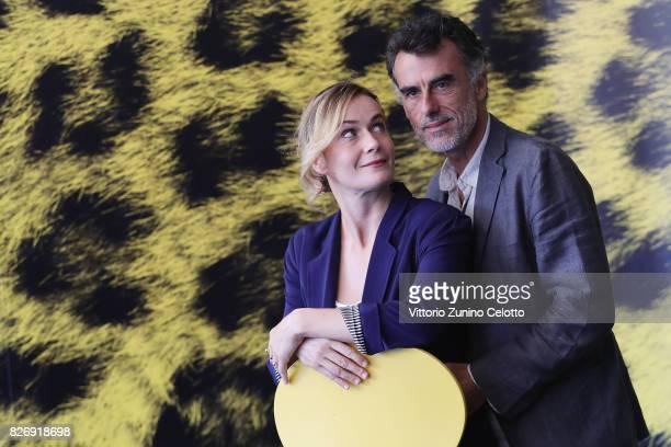 Lucia Mascino and Thomas Trabacchi attend 'Amori che non sanno stare al mondo' photocall during the 70th Locarno Film Festival on August 6 2017 in...