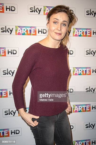 Lucia Mascino attends a photocall for Franco Battiato concert for Sky Arte at HangarBicocca on January 26 2016 in Milan Italy