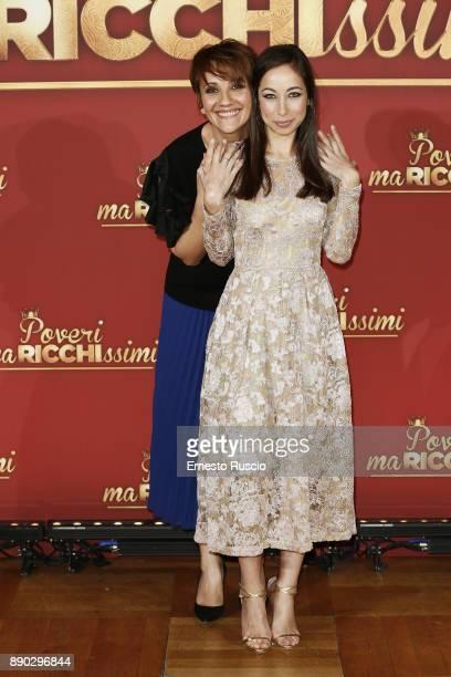 Lucia Ocone and Tess Masazza attend 'Poveri Ma Ricchissimi' photocall on December 11 2017 in Rome Italy