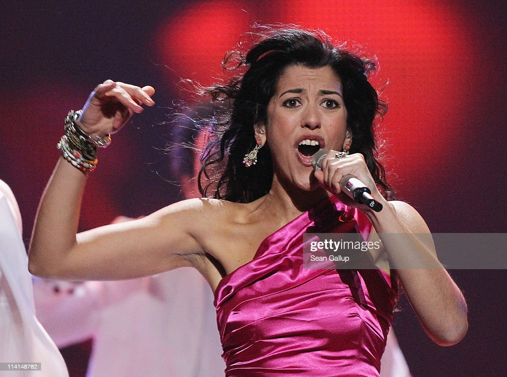 Lucia Perez of Spain performs during the dress rehearsal ahead of the finals of the 2011 Eurovision Song Contest on May 13, 2011 in Duesseldorf, Germany.