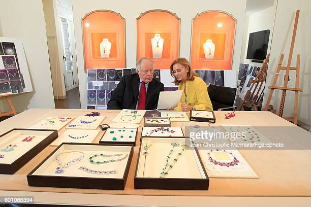 Lucia Silvestri creative director at Bulgari and Nicola Bulgari founder of the luxury brand Bulgari are photographed with Bulgari's new jewelry...