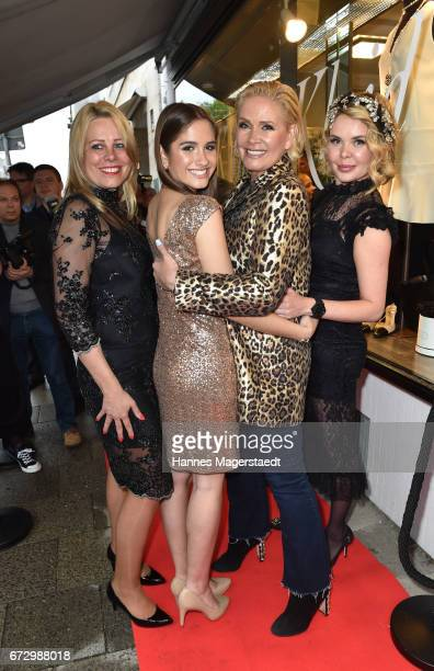 Lucia Strunz Claudia Effenberg Julia K and a guest during the 'Kunst Kleid' fashion cocktail on April 25 2017 in Munich Germany