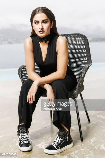 Lucia Strunz daughter of Claudia Effenberg poses during a photo shooting to present the new sneakers collection by the label Marcel Remus Design on...