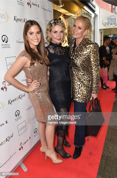 Lucia Strunz Julia K and Claudia Effenberg during the 'Kunst Kleid' fashion cocktail on April 25 2017 in Munich Germany