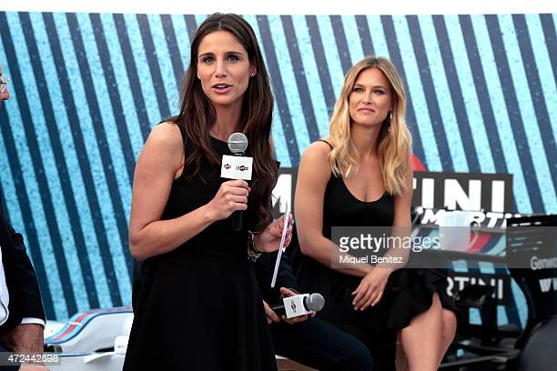 Lucia Villalon and model Bar Rafeli attend at Terrazza MARTINI to announce Bar Refaeli as the global MARTINI race ambassador on May 7 2015 in...