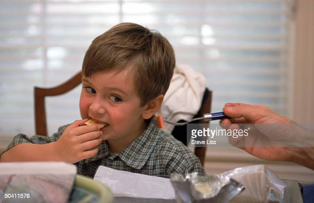4yearold Lucian Bontumasi casting a dubious eye on a forkful of ham as his marketing manager father David tries to broaden the picky eater's palate...