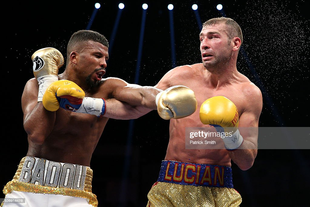 Lucian Bute of Canada (right) exchanges punches with Badou Jack of Sweden in their WBC super middleweight championship bout at the DC Armory on May 1, 2016 in Washington, DC.