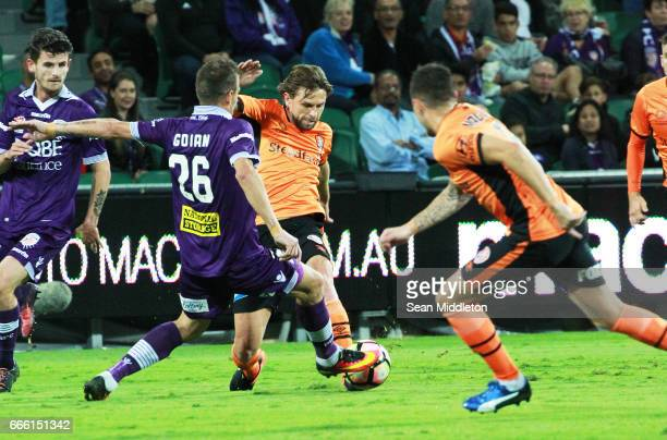 Lucian Goian of the Glory during the round 26 ALeague match between the Perth Glory and Brisbane Roar at nib Stadium on April 8 2017 in Perth...