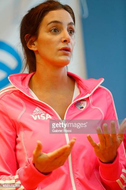 Luciana Aimar of Argentina Women's National field hockey team 'Las Leonas' talks during a press conference to announce modifications in the support...