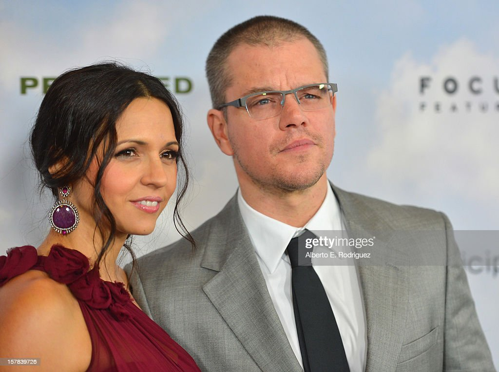 Luciana Baroso and actor Matt Damon arrive to the premiere of Focus Features' 'Promised Land' at the Directors Guild Of America on December 6, 2012 in Los Angeles, California.