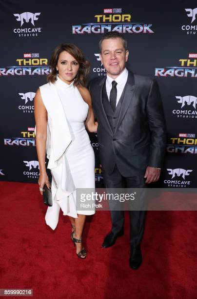 Luciana Barroso and actor Matt Damon at The World Premiere of Marvel Studios' 'Thor Ragnarok' at the El Capitan Theatre on October 10 2017 in...