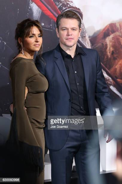 Luciana Barroso and actor Matt Damon attend the premiere of Universal Pictures' 'The Great Wall' at TCL Chinese Theatre IMAX on February 15 2017 in...