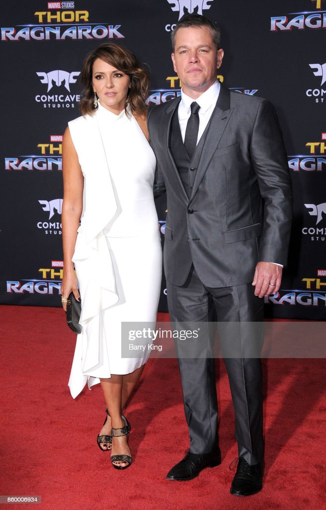 Luciana Barroso and husband actor Matt Damon attend the world premiere of Disney and Marvel's 'Thor: Ragnarok' at El Capitan Theatre on October 10, 2017 in Los Angeles, California.