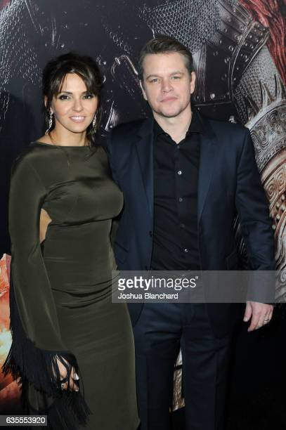 Luciana Barroso and Matt Damon arrive at the premiere of Universal Pictures' 'The Great Wall' at TCL Chinese Theatre IMAX on February 15 2017 in...