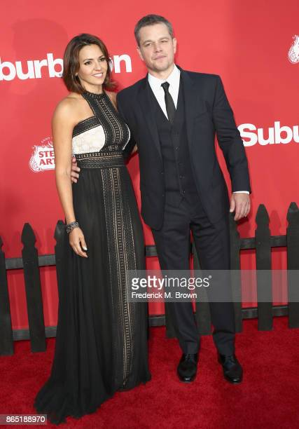Luciana Barroso and Matt Damon at the Premiere of Paramount Pictures' 'Suburbicon' at Regency Village Theatre on October 22 2017 in Westwood...