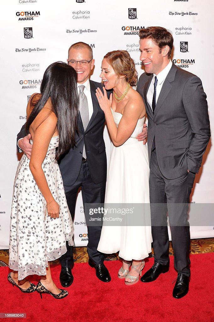 Luciana Bozan Barroso, Matt Damon, Emily Blunt, and John Krasinski attend the 22nd Annual Gotham Independent Film Awards at Cipriani Wall Street on November 26, 2012 in New York City.