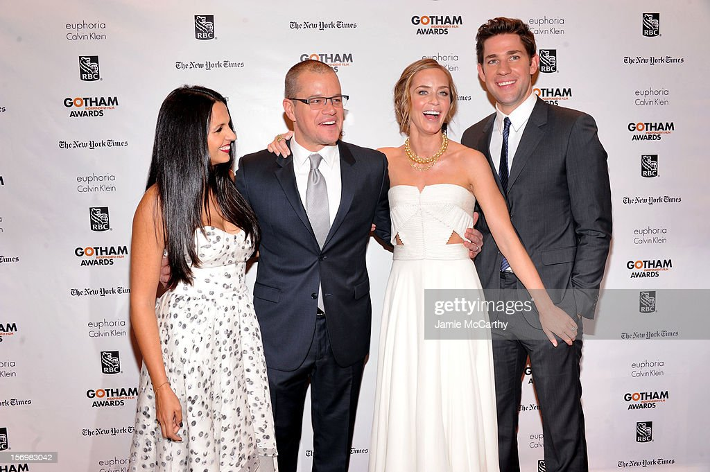 Luciana Bozan Barroso, Matt Damon, Emily Blunt, and John Krasinski attend the 22nd Annual Gotham Independent Film Awards at Cipriani Wall Street on November 26, 2012 in New York City.