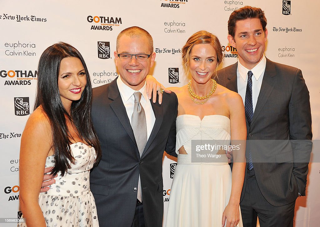 Luciana Bozan Barroso, Matt Damon, Emily Blunt, and John Krasinski attend the IFP's 22nd Annual Gotham Independent Film Awards at Cipriani Wall Street on November 26, 2012 in New York City.
