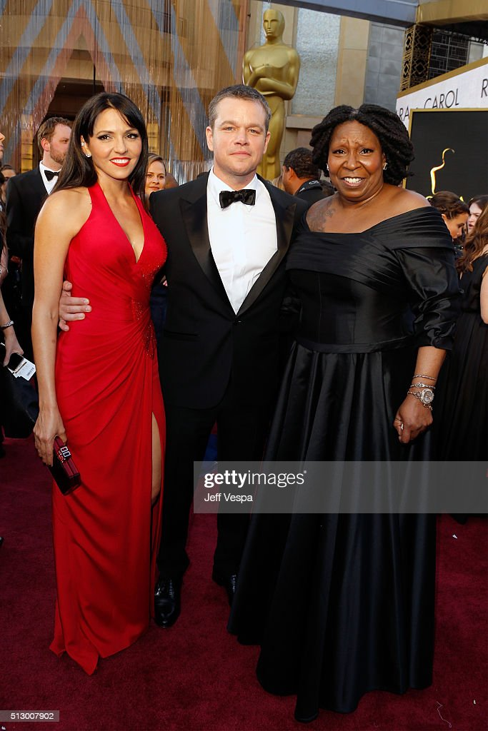 Luciana Damon, actor Matt Damon and actress Whoopi Goldberg attend the 88th Annual Academy Awards at Hollywood & Highland Center on February 28, 2016 in Hollywood, California.
