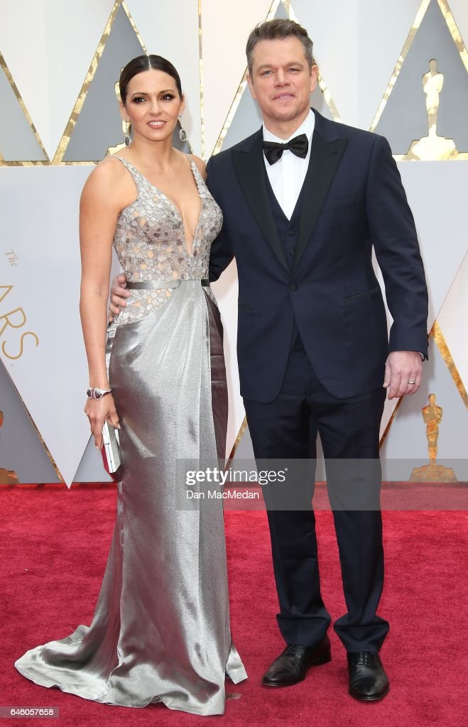 Luciana Damon (L) and actor Matt Damon arrive at the 89th Annual Academy Awards at Hollywood & Highland Center on February 26, 2017 in Hollywood, California.