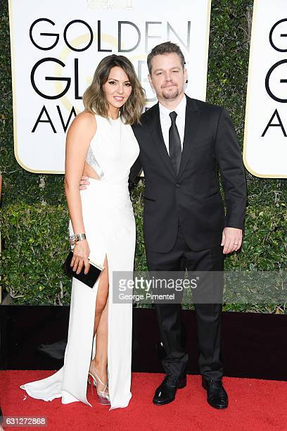 Luciana Barroso and actor Matt Damon attend 74th Annual Golden Globe Awards held at The Beverly Hilton Hotel on January 8 2017 in Beverly Hills...