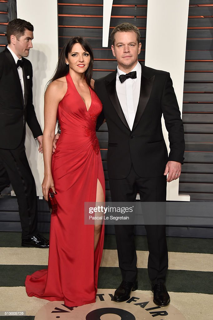 Luciana Damon (L) and actor Matt Damon attend the 2016 Vanity Fair Oscar Party Hosted By Graydon Carter at the Wallis Annenberg Center for the Performing Arts on February 28, 2016 in Beverly Hills, California.