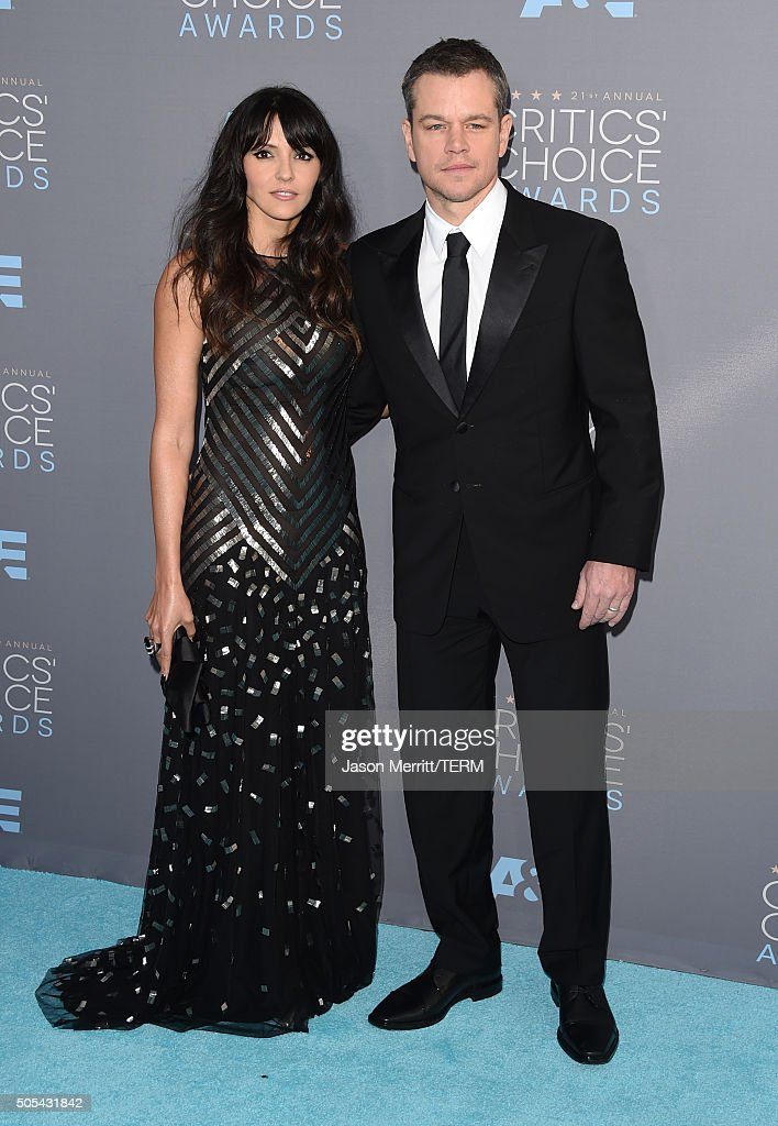 Luciana Barroso and actor Matt Damon attend the 21st Annual Critics' Choice Awards at Barker Hangar on January 17 2016 in Santa Monica California