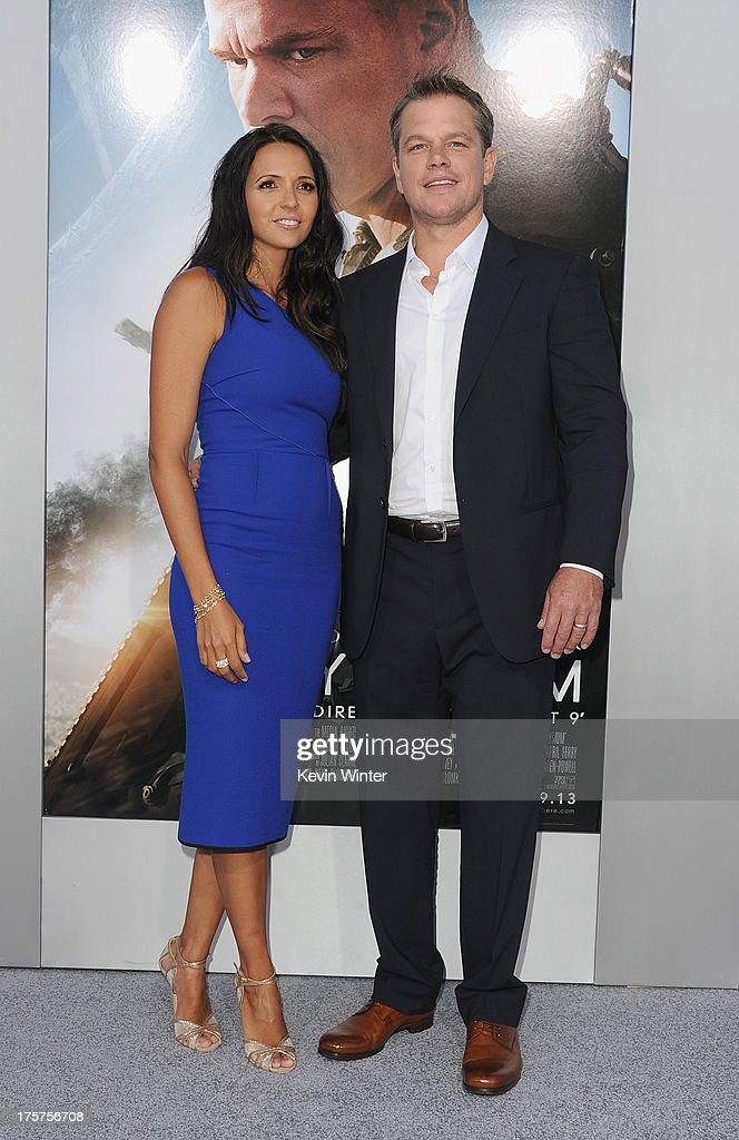 Luciana Barroso and actor <a gi-track='captionPersonalityLinkClicked' href=/galleries/search?phrase=Matt+Damon&family=editorial&specificpeople=202093 ng-click='$event.stopPropagation()'>Matt Damon</a> attend the premiere of TriStar Pictures' 'Elysium' at Regency Village Theatre on August 7, 2013 in Westwood, California.