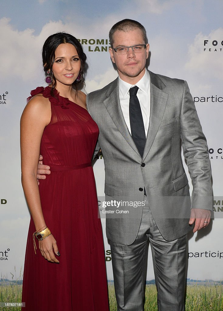 Luciana Barroso (L) and actor <a gi-track='captionPersonalityLinkClicked' href=/galleries/search?phrase=Matt+Damon&family=editorial&specificpeople=202093 ng-click='$event.stopPropagation()'>Matt Damon</a> attend the ''Promised Land' Los Angeles premiere at Directors Guild Of America on December 6, 2012 in Los Angeles, California.