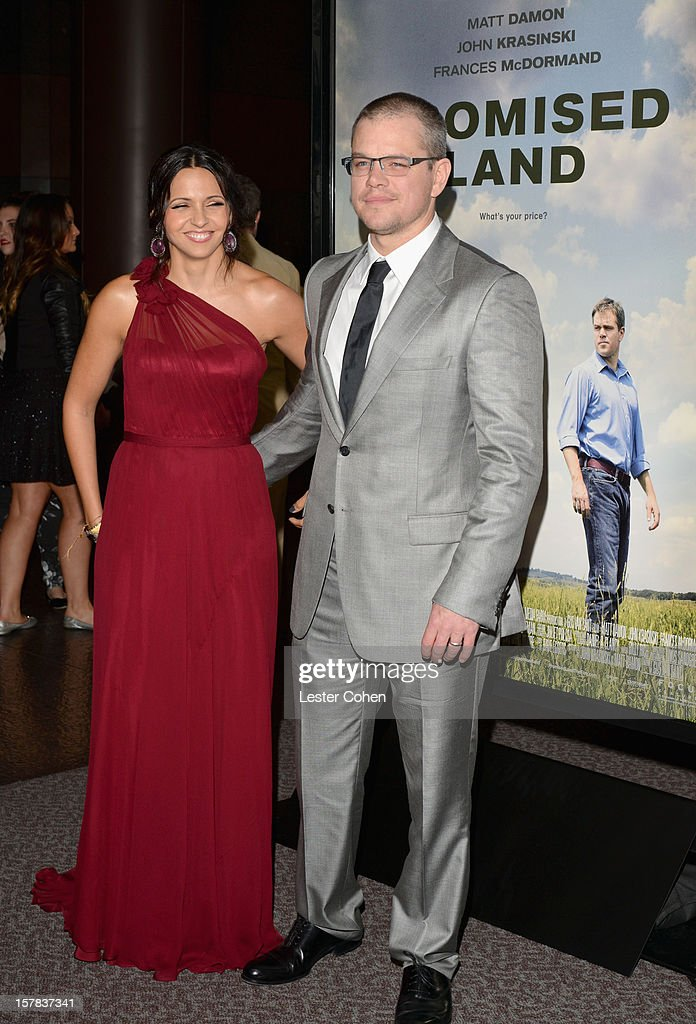 Luciana Barroso (L) and actor Matt Damon attend the ''Promised Land' Los Angeles premiere at Directors Guild Of America on December 6, 2012 in Los Angeles, California.
