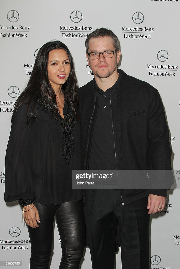 Luciana Damon and Matt Damon are seen during Fall 2013 Mercedes-Benz Fashion Week at Lincoln Center for the Performing Arts on February 12, 2013 in New York City.