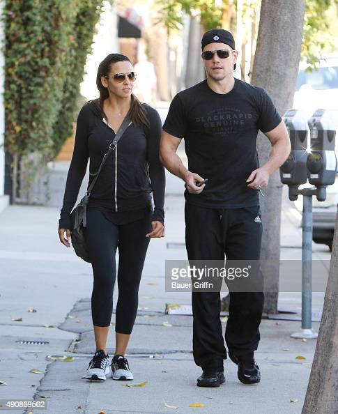 Luciana Barroso and Matt Damon are seen on October 01 2015 in Los Angeles California